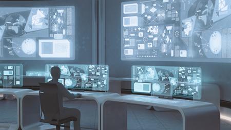 3D는 사람들이 실루엣과 현대, 미래 지향적 명령 센터 내부 렌더링