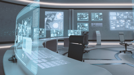 future business: 3D rendered empty, modern, futuristic interior command center Stock Photo
