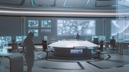 3D teruggegeven modern, futuristisch commandocentrum interieur met mensen silhouetten
