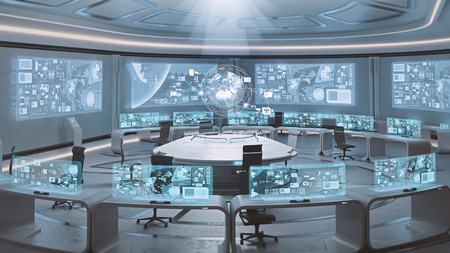 3D rendered empty, modern, futuristic interior command center Фото со стока