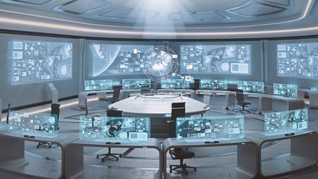 acier: 3D rendu vide, moderne centre de commandement, futuriste intérieur