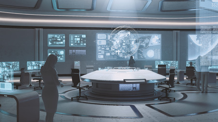 3D rendered modern, futuristic command center interior with people silhouettes Zdjęcie Seryjne