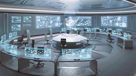3D 빈, 현대, 미래 지향적 인 간 명령 센터를 렌더링