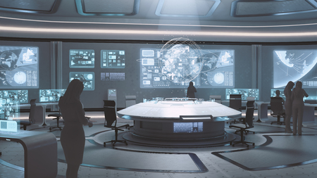 3D rendered modern, futuristic command center interior with people silhouettes Banco de Imagens