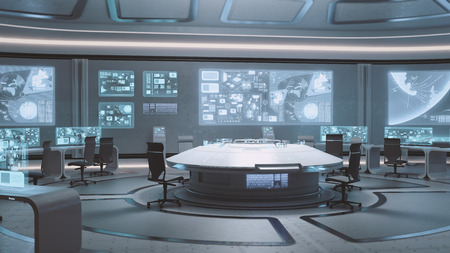 3D rendered empty, modern, futuristic interior command center Stockfoto