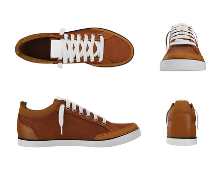 pairs: Brown pairs of sports sneakers from four side