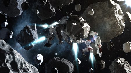 Futuristic spaceship flying in space between asteroids Stock Photo