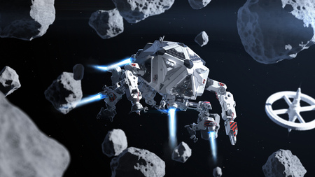 hovercraft: Futuristic spaceship flying in space between asteroids Stock Photo