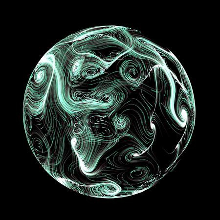 plasma: Turquoise bright plasma sphere abstract background isolated on black Stock Photo