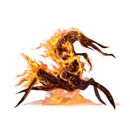 animales del bosque: rey feo de las criaturas de insectos en concepto de arte fuego sobre un fondo blanco