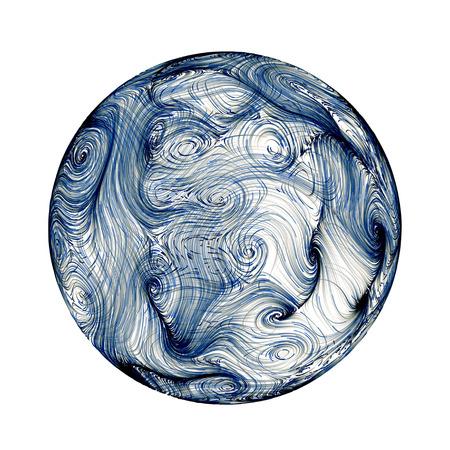 plasma: Dark blue plasma sphere abstract background isolated on white
