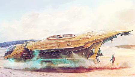 aéroglisseur: Futuriste vaisseau spatial atterrissage sur une planète apocalyptique notion art perdu de poste
