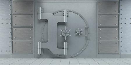 vault: 3d rendering of an closed huge bank vault doors front view