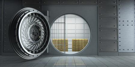 3D-weergave van een geopende grote bankkluis vol goudbalken vooraanzicht