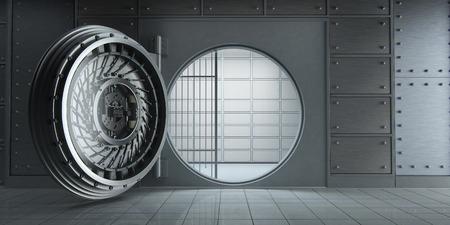 3d rendering of an opened huge empty bank vault front view