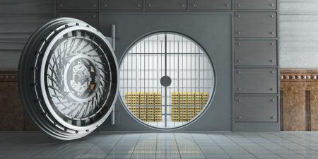 banco dinero: Representación 3D de una enorme bóveda bancaria abierta llena de barras de oro vista frontal