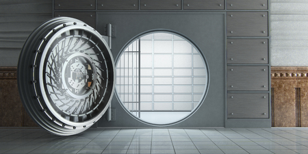 3d rendering of an opened huge empty bank vault front view