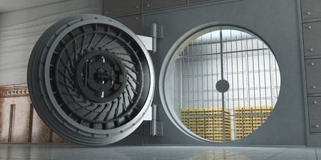 3d rendering of an opened huge bank vault full of gold bars perspective view