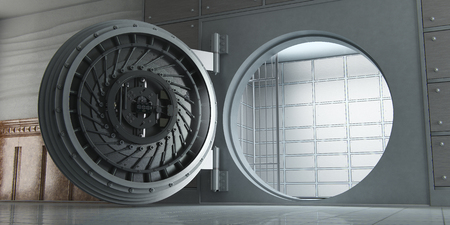 3d rendering of an opened huge empty bank vault perspective view