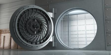 3d rendering of an opened huge empty bank vault perspective view