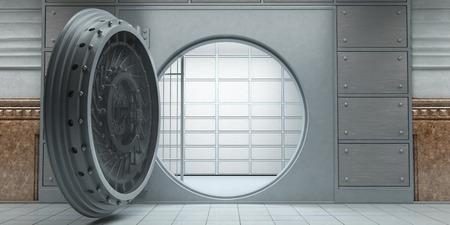 3D-weergave van een geopende enorme lege bankkluis vooraanzicht