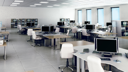 personas trabajando en oficina: Interior de la oficina vacío moderno
