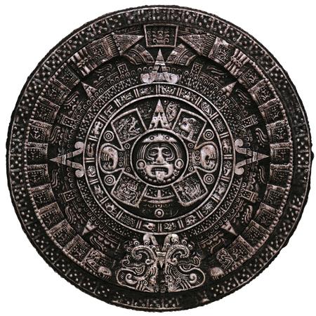 Maya-kalender op een witte achtergrond Stockfoto