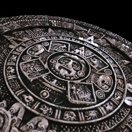 rituals: Zoomed mayan calendar Stock Photo