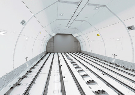 cargo service: Empty modern civil airplane cargo hold