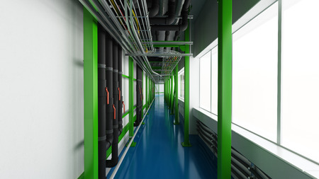 Industiral white wall and green structure long corridor in daylight Standard-Bild