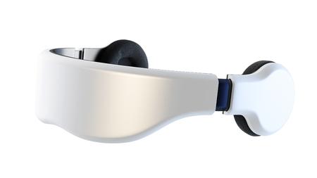 White virtual reality goggles with headphones, minimalist modern design on a white background. Archivio Fotografico