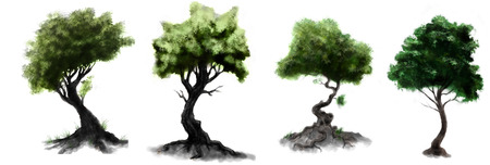 tree  forest: Stylized dark forest green leaves trees drawings Stock Photo