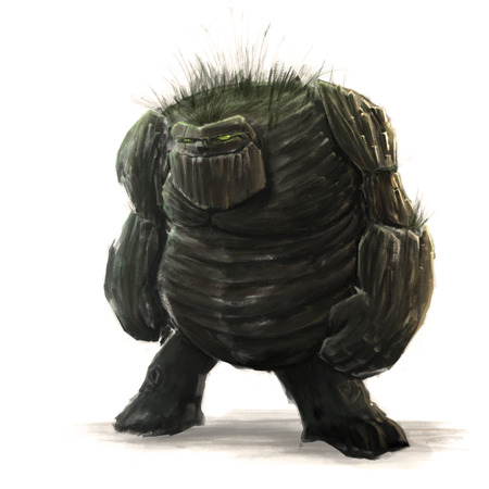 Standing forest golem concept art on a white background 版權商用圖片