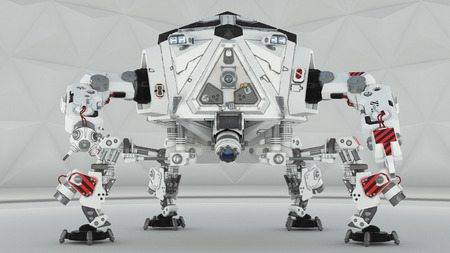 articles: Four futuristic robot leg on a white background Stock Photo