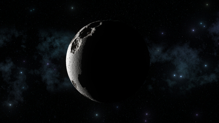 3d abstract moon with galaxy in background and sharp sun light shadows. Lunar craters and bumps