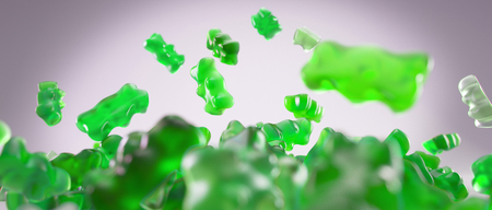 sweet background: Transparent green sweet gummy bears falling background