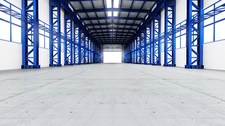 concrete floor: Empty warehouse interior