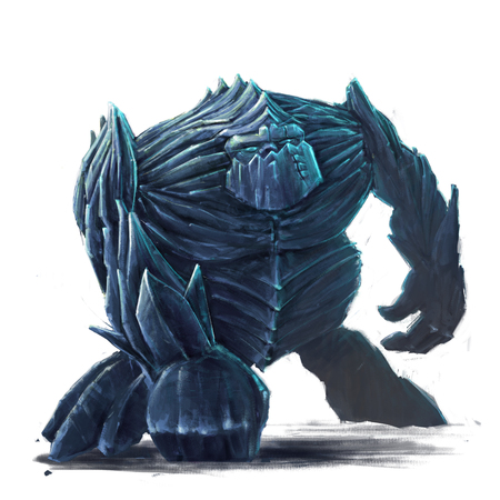 dignified: Standing ice golem concept art on a white background