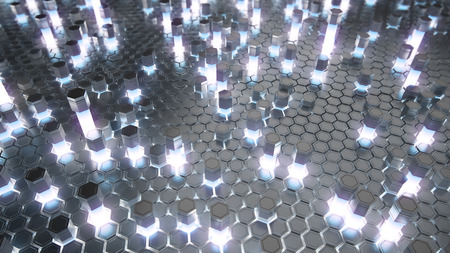 hexagonal pattern: Abstract 3D rendering of a futuristic surface with hexagons. Reactor radioactive elements. Sci-fi background.