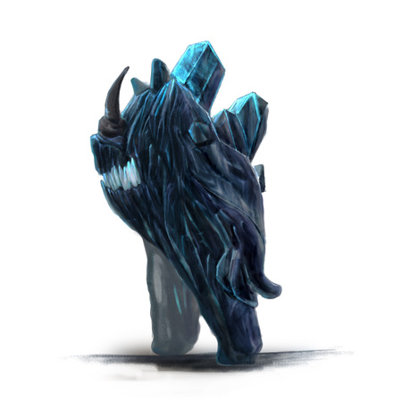 dignified: Standing ice monster concept art on a white background