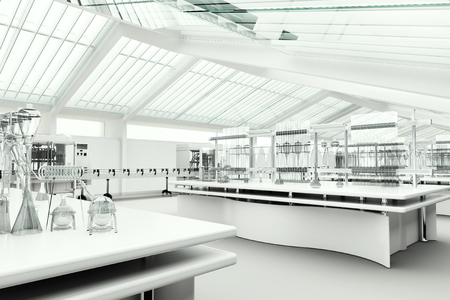 clean room: Clean modern white laboratory