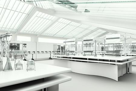 investigando: Limpie laboratorio moderno blanco