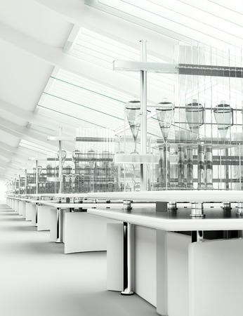청소 현대 흰색 실험실 차원 렌더링 스톡 콘텐츠 - 48653457