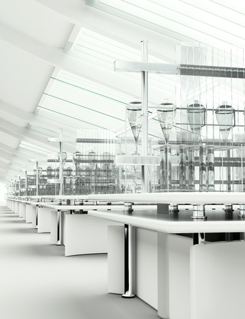 factory interior: Clean modern white laboratory 3d render