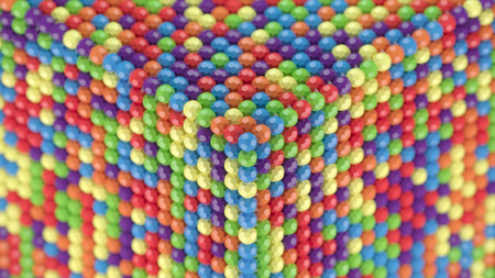 ditch: Fullerene spheres rows and collumns abstract background with depth of field Stock Photo