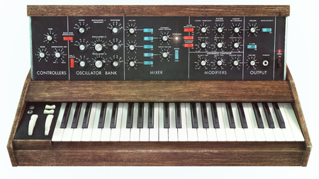 oma: Classic analog synthesizer front view Stock Photo