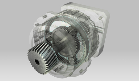 Planetary gearbox transmission cross section and semi-transparent casing Archivio Fotografico