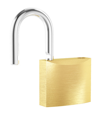 New metal opened padlock isolated on white background