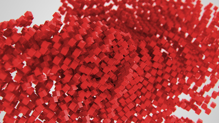 Red chaotic abstract cube background 3d Illustration