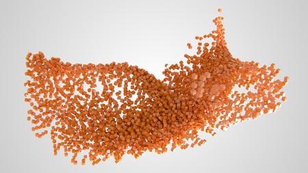 Oranje chaotische abstracte kubus achtergrond 3d Illustratie Stockfoto